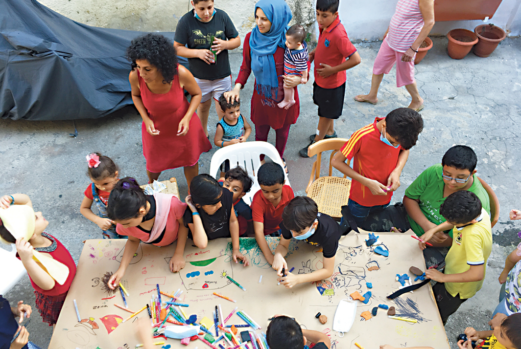 Sirine Fattouh, Fida Bizri, and Sylvie Ballyot's children's art workshop, Beirut, August 19, 2020. Photo: Sirine Fattouh.