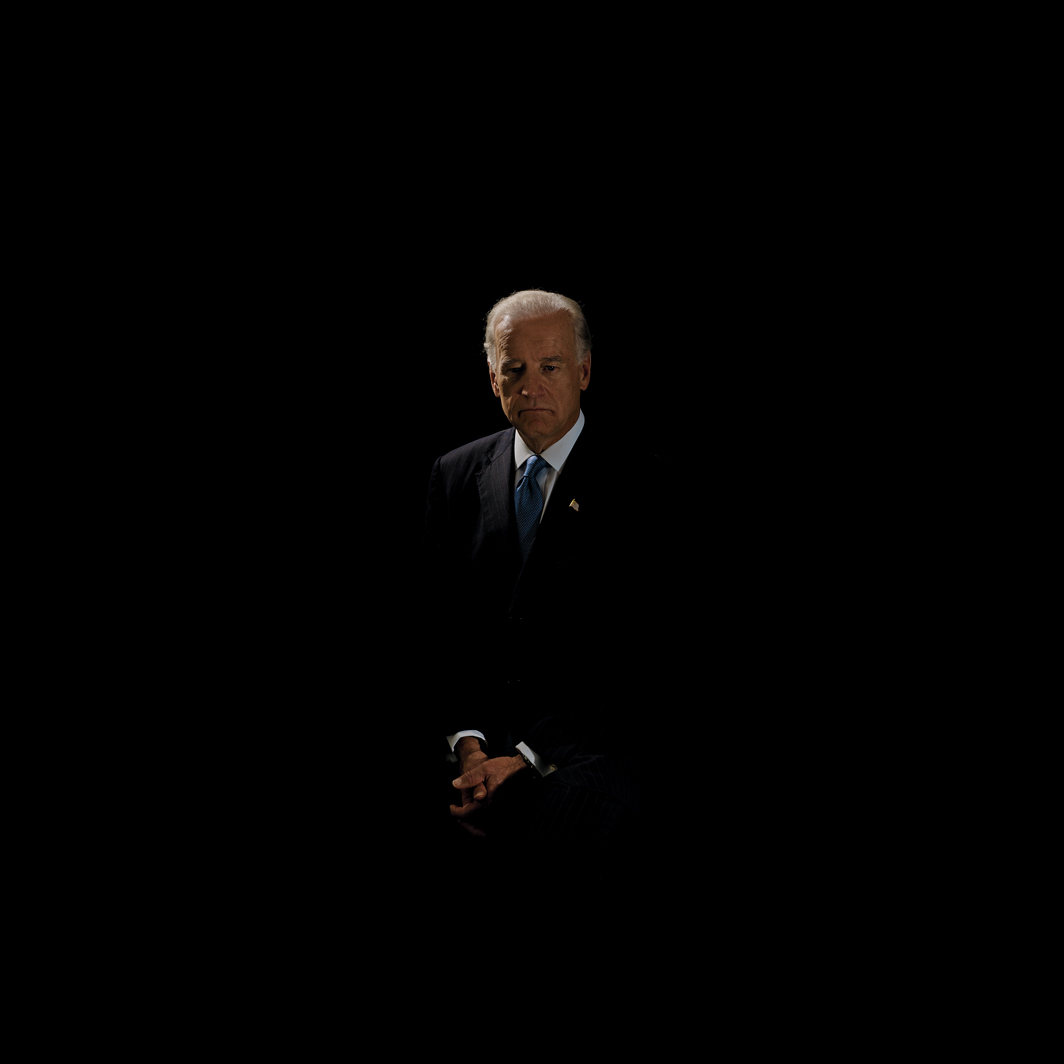 "Taryn Simon, Black Square XXIV, Former Vice President Joe Biden, 2020, ink-jet print, 31 3/4 × 31 3/4"". From the series ""Black Square,"" 2006–."