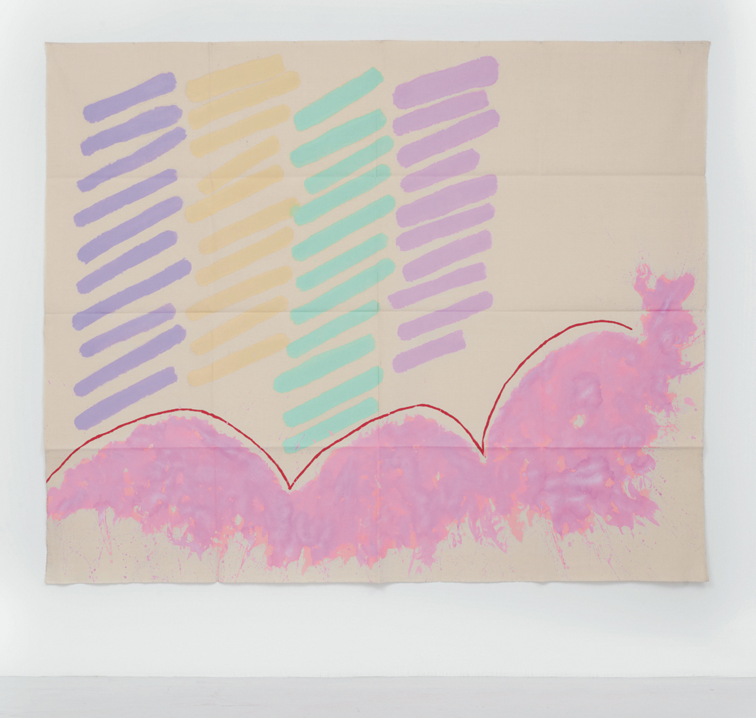 "Giorgio Griffa, Finale rosa (Final Pink), 1996, acrylic on canvas, 70 7/8 × 86 5/8""."