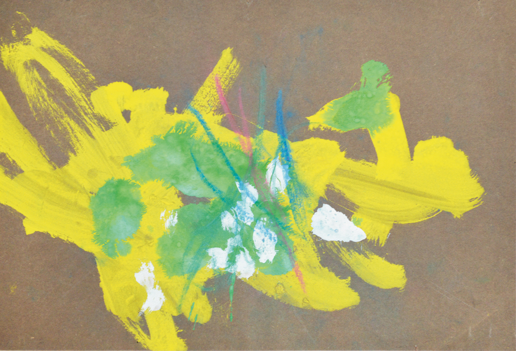"Congo, 22nd Painting Session, 1957, oil and pastel on paper, 10 1/2 × 15 1/2""."