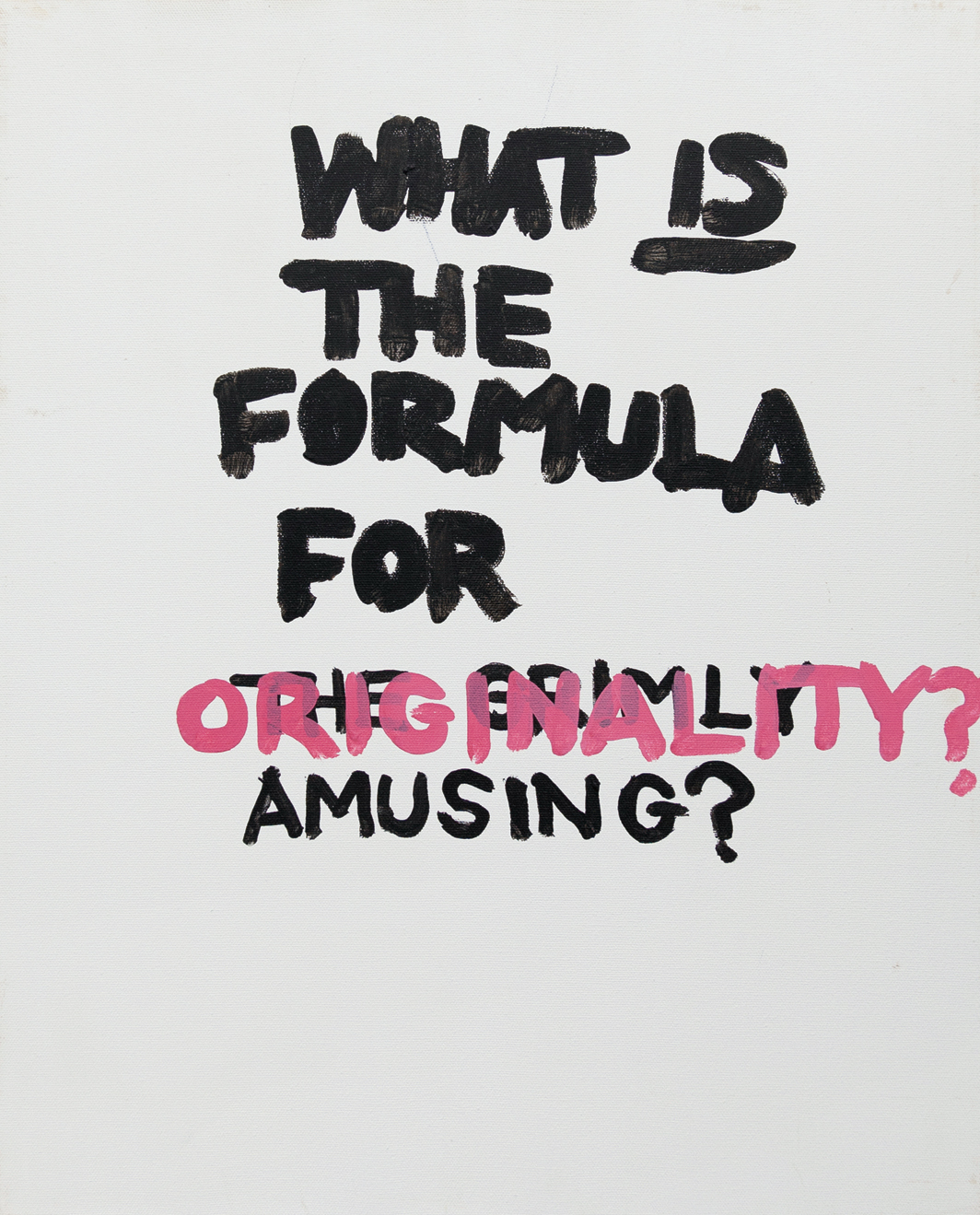 "Gene Beery, What Is the Formula?, ca. 2000s, acrylic on canvas, 20 × 16""."