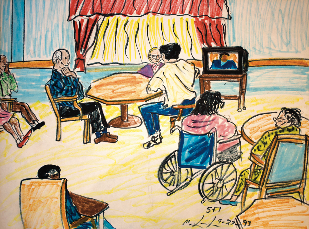 "Michelangelo Lovelace, Residents in the Day Room on the Fifth Floor, 1993, marker on paper, 18 × 23 3/4""."