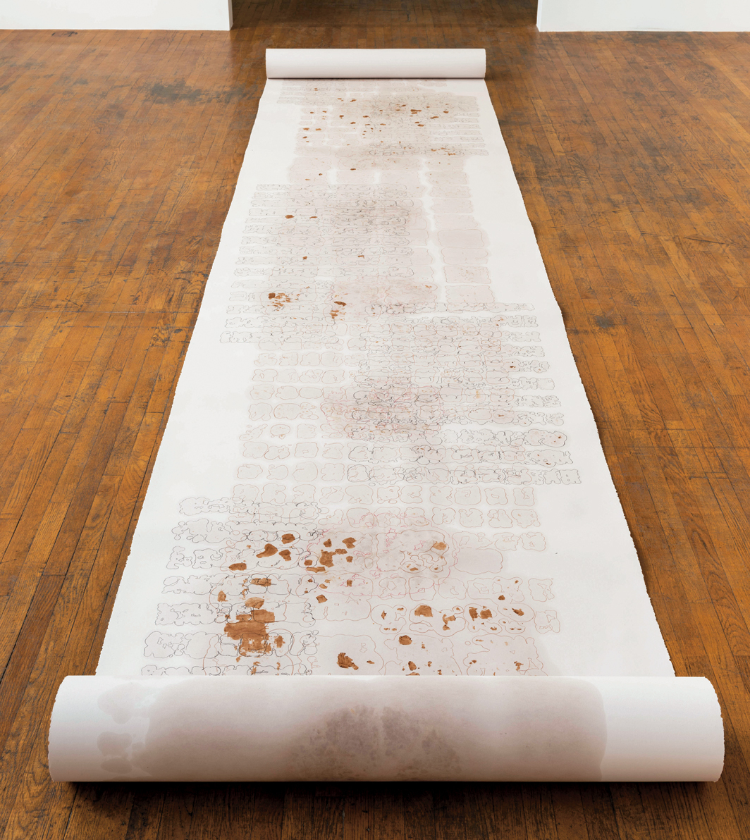 "Carmen Argote, Digesting Scroll—Feb, March, April, 2020, protein-bar oil, chocolate, and crayon on paper,  22' × 4' 2""."