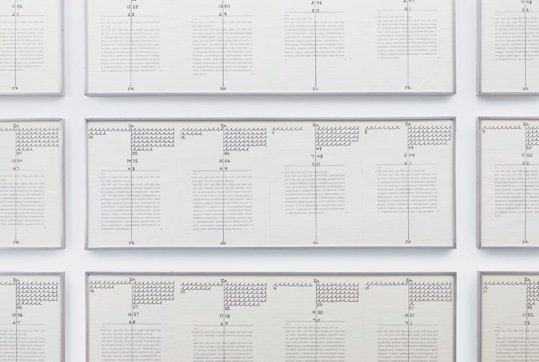 "Hanne Darboven, Ein Jahrhundert.1b (A Century. 1b) (detail), 1971–74, offset print, typewriter, ink on graph paper, 100 sheets, each 11 3/4 × 8 1/4"", in 25 frames."