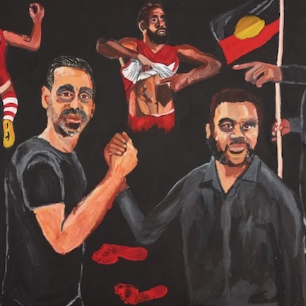 Vincent Namatjira, Stand Strong for Who You Are, 2020, acrylic on linen.