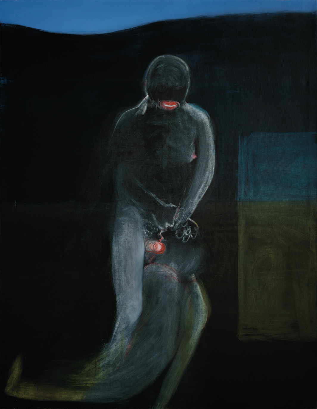 "Miriam Cahn, IM DUNKELN (In the Dark), 2019, oil on canvas, 70 7/8 × 55 1/8""."