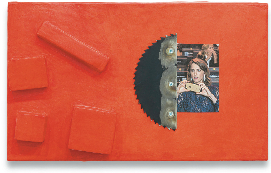 "Monika Baer, untitled, 2020, paper, acrylic, ink-jet print, saw-blade fragment, and screws on cardboard, 7 × 11 3/4 × 2 1/2""."