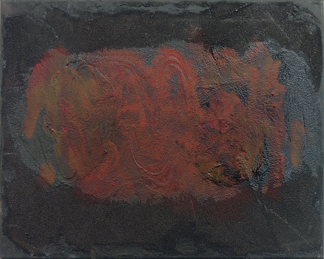 "Henrik Olesen, intestine, black, red, horizontal, 2020, oil and mixed media on canvas, 15 3/4 × 19 3/4""."