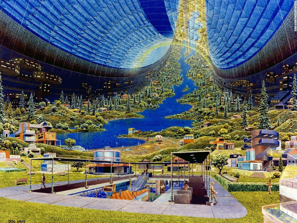 1970s rendering of a NASA space colony by Princeton physicist Gerard K. O'Neill.