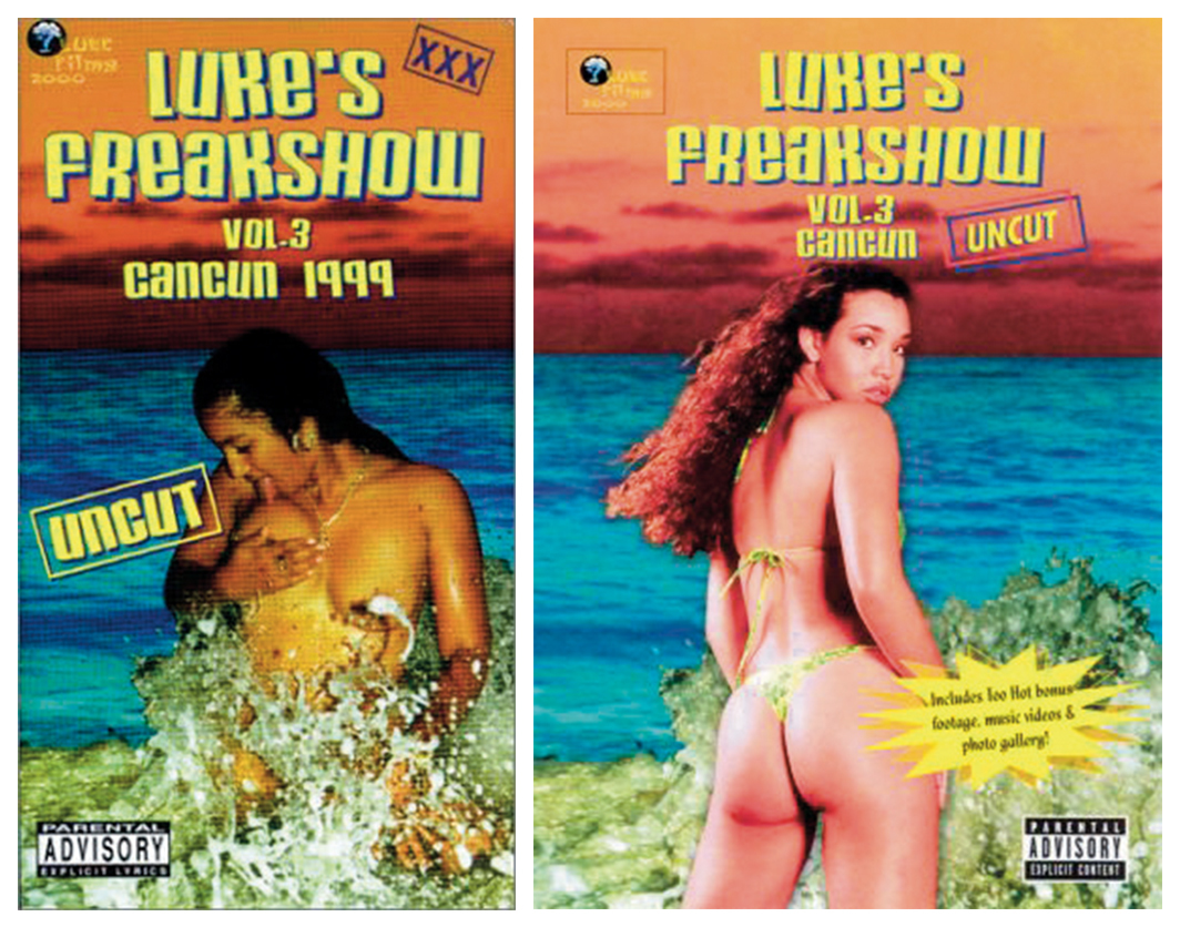 *VHS and DVD covers of _Luke's Freakshow, vol. 3, Cancun 1999_, 2001.*