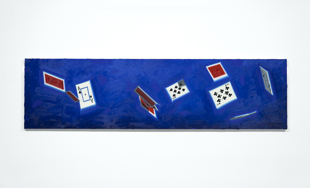 "Luke O'Halloran, Cards in the air 06 (dead man's hand), 2020, oil on canvas, 64 x 17""."
