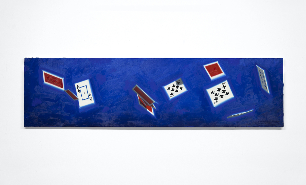 "Luke O'Holloran, Cards in the air 06 (dead man's hand), 2020, oil on canvas, 64 x 17""."