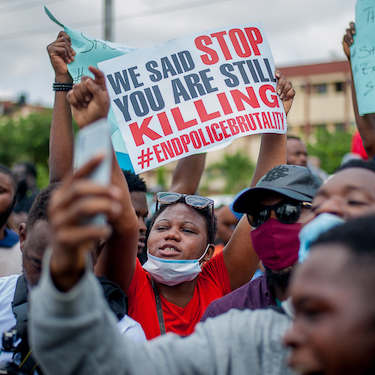 Protesters at the EndSARS protest in Lagos, Nigeria.