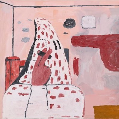 "Philip Guston, Scared Stiff, 1970, oil on canvas, 57 x 81""."