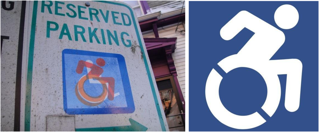 The early stage of the Accessible Icon Project was guerrilla street art, shown above on the left: a clear-backed sticker placed on top of a few dozen International Symbol of Access signs, showing both the original, rectilinear, blue and white image and the new one, in orange and red, leaning forward with organic rounded edges on the figure. The design raised a question: Who has access in public space? The late stage of the Accessible Icon Project is a formal isotype, free for anyone, held in the public domain. It conforms to standards for all public signage while keeping the spirit of the original: rounded edges to the body, the person foregrounded over the chair, with dashed cutouts on the wheels to indicate motion.
