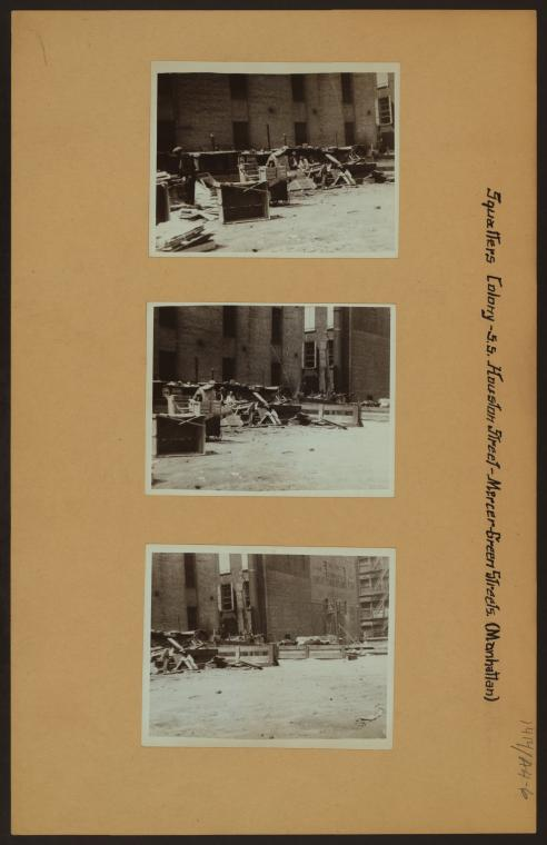 """Squatters Colony on Houston Street,"" 1933 - 1935. Photo: The New York Public Library Digital Collections.  [Three black and white photographs feature the Squatters Colony on Houston, Greene, and Mercer Streets, with makeshift dwellings of cardboard and wood.]"