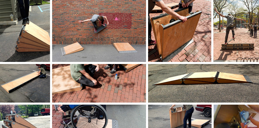 A montage of images shows Hendren's Slope: Intercept project with its original set of five modular single-step ramps, made of wood, metal casters, leveling feet, and a piano hinge on each. The ramps stack and nest and combine in multiple ways; in these images, they're in use by both skateboarders and wheelchair users.