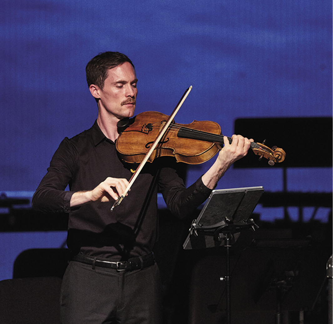 Kyle Armbrust performing Vijay Iyer's 2019 Song for Flint at Miller Theatre, Columbia University, New York, October 24, 2019. Photo: Rob Davidson.