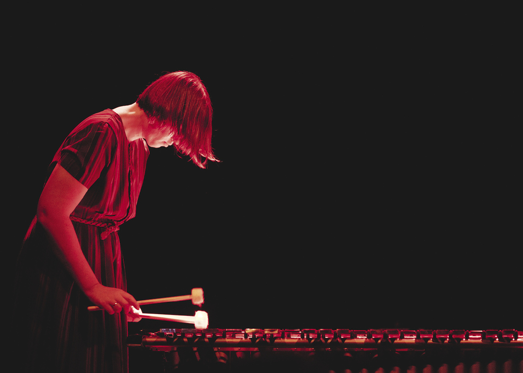 Sarah Hennies performing at the Audiograft Festival, Arnolfini, Bristol, UK, March 17, 2019. Photo: Jason Warner.