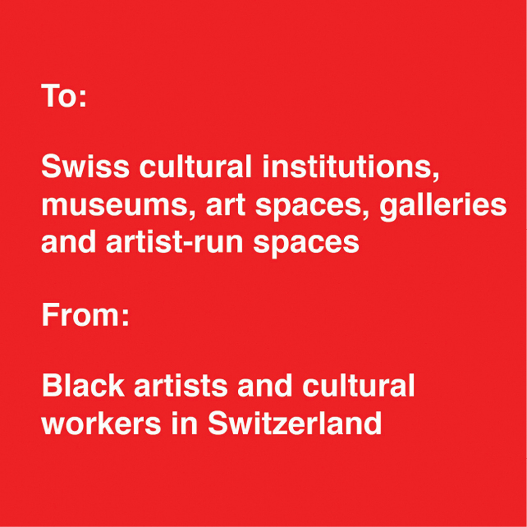 Icon for Black artists and cultural workers in Switzerland's June 9, 2020, open letter.