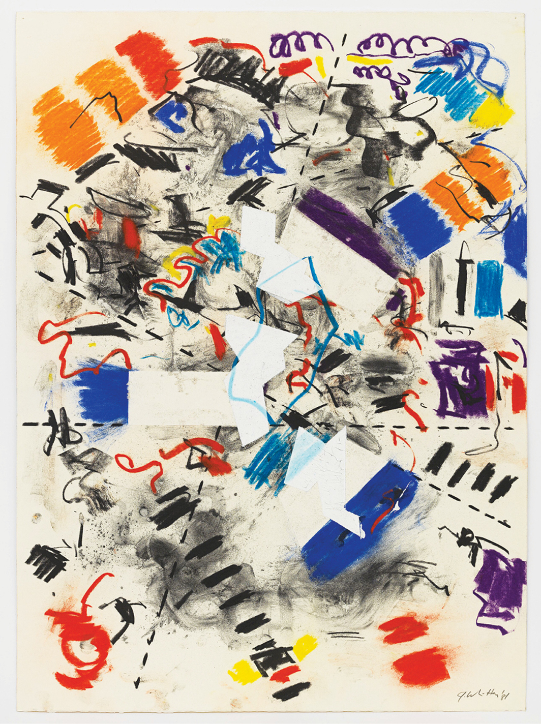 "Jack Whitten, Geometric Collusion #1, 1981, acrylic, pastel, and charcoal on paper, 26 1/8 × 19"". © Jack Whitten Estate."
