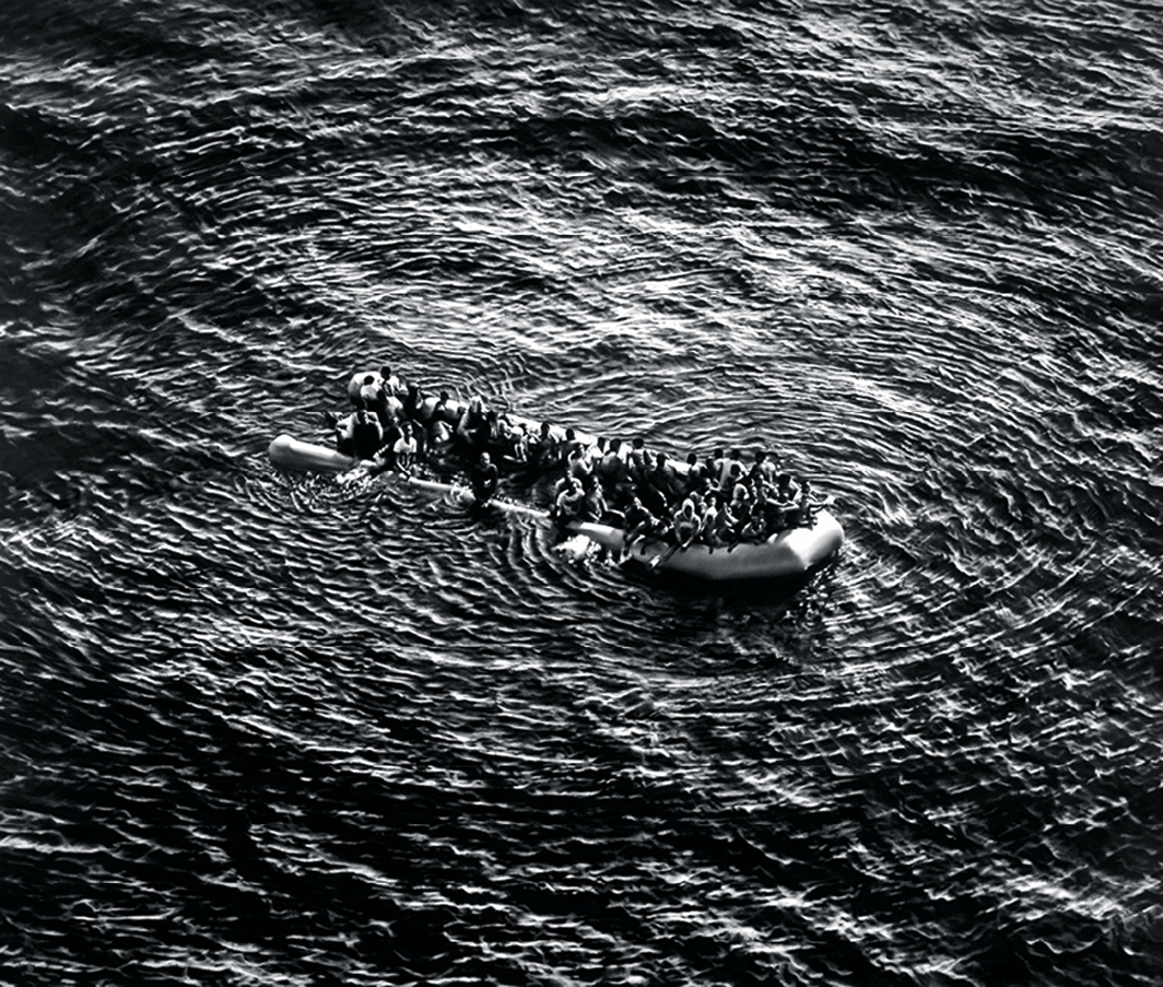 "Robert Longo, Untitled (Refugees Moonbird Sighting, Mediterranean Sea; May 5, 2017), 2019, charcoal on mounted paper, 97 × 120""."