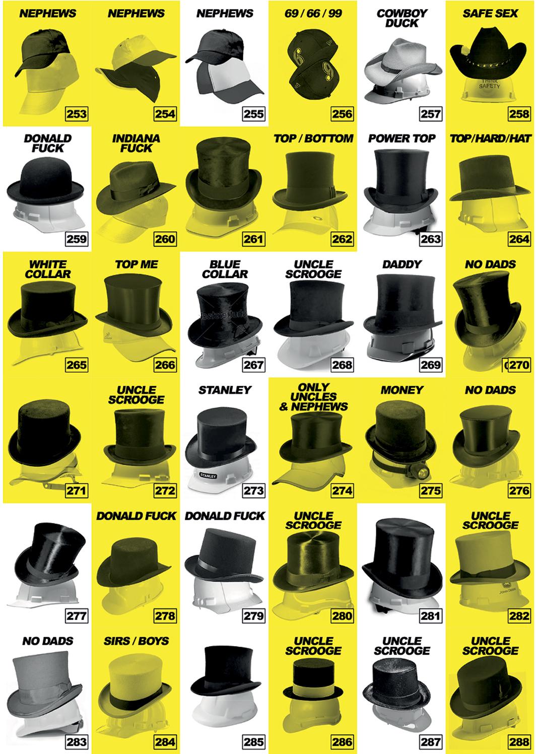 "Francesc Ruiz, The yaois (hats), 2013, digital print on paper, 78 3/4 × 55 1/8""."