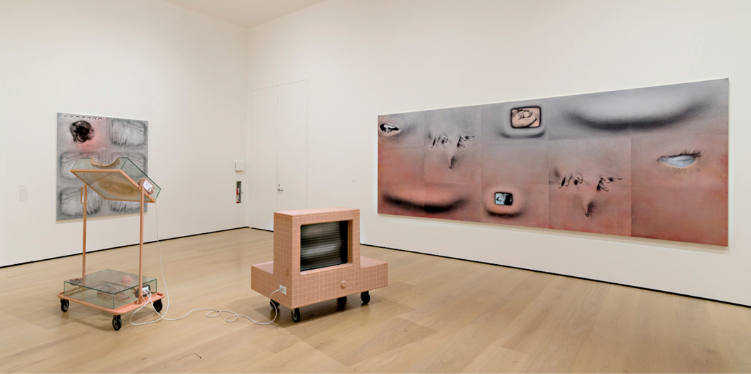 "View of ""Tishan Hsu: Liquid Circuit,"" 2020, Hammer Museum, Los Angeles. Wall, from left: It's Not the Bullet but the Hole 2, 1991; Fingerpainting, 1994. Floor: Virtual Flow, 1990–2018. Photo: Jeff McLane."