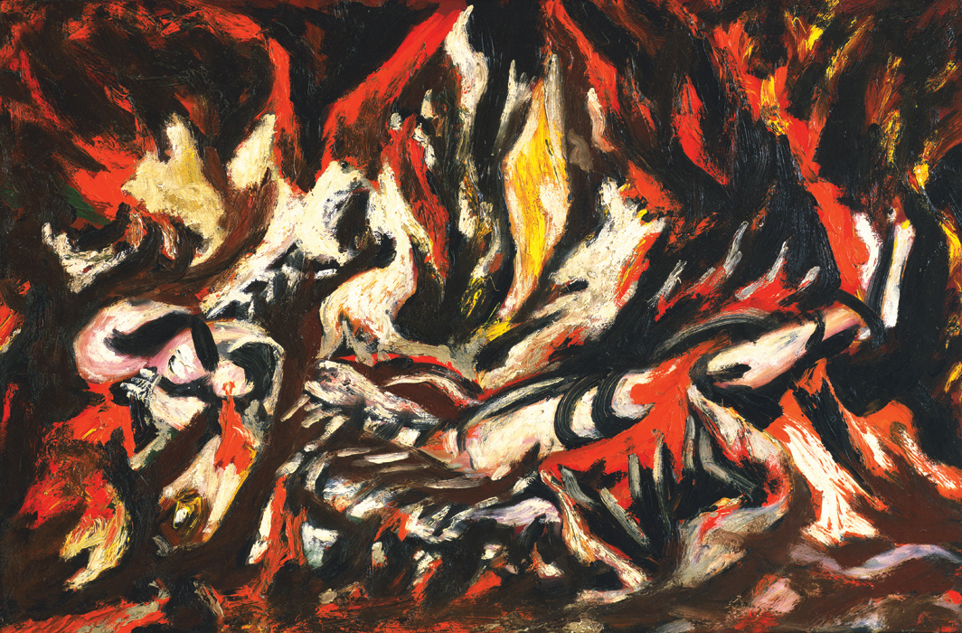 "Jackson Pollock, The Flame, ca. 1934–38, oil on canvas mounted on fiberboard, 20 1⁄2 × 30""."