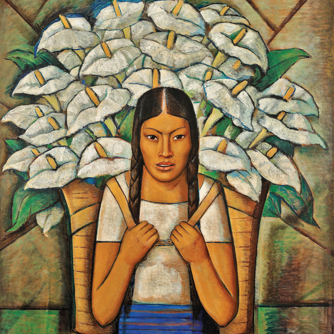 "Alfredo Ramos Martínez, Calla Lily Vendor (detail), 1929, oil on canvas, 45 7⁄8 × 36"". © Alfredo Ramos Martínez Research Project."