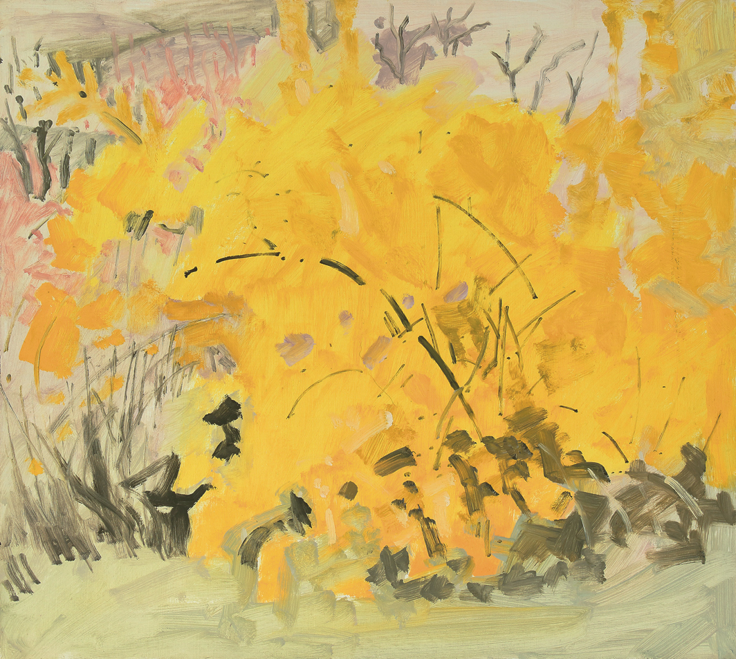 "Lois Dodd, Forsythia, April, 1976, oil on Masonite, 16 × 17 3/4""."