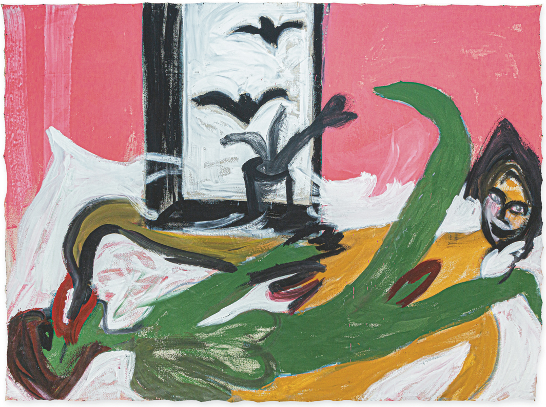 "Martin Disler, Untitled, 1980, acrylic on cotton, 7' 11 1/4"" × 10' 4 1/2"". From ""Ausbruch & Rausch: Zürich 1975–1980 Frauen Kunst Punk"" (Eruption and Intoxication: Zurich 1975–1980 Women Art Punk)."