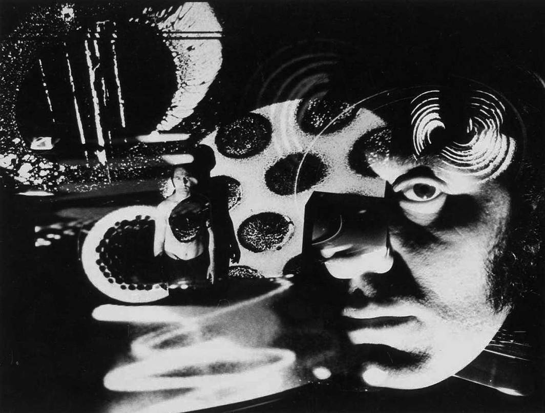 Electromedia portrait of Aldo Tambellini at The Black Gate Theater, New York, 1967. Photo: Richard Raderman. © Aldo Tambellini Art Foundation.