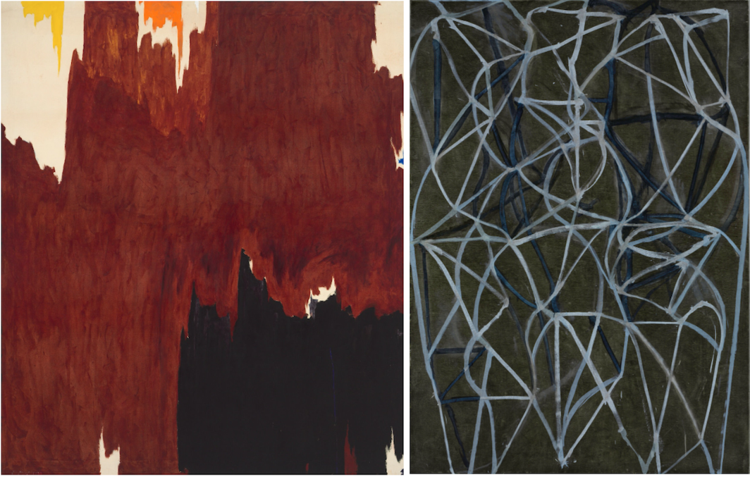 """Left: Clyfford Still, 1957-G; (1957), oil on canvas, 108 x 92"""" © City & County of Denver, Courtesy Clyfford Still Museum / Artists Rights Society (ARS), New York. Right: Brice Marden, 3, 1987–88, oil on linen, 84 3/16 x 60 1/16"""" © The Baltimore Museum of Art / Brice Marden."""