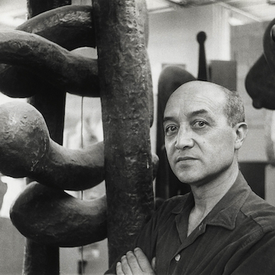 Isamu Noguchi in his Long Island City studio, 1960s. Photo: Martha Swope. © The Isamu Noguchi Foundation and Garden Museum, NY / Artists Rights Society (ARS).