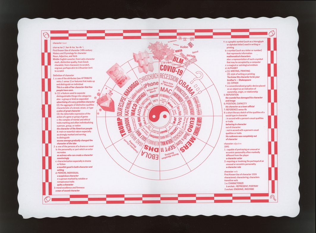 "Omnivore, Character of Vicissitudes, 2020, offset print on scalloped-edge restaurant placemat, 9 3/4 x 13 3/4""."