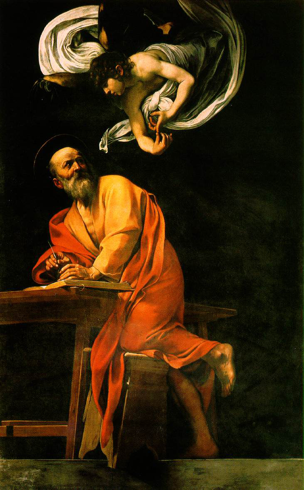 "Caravaggio, The Inspiration of Saint Matthew, 1602, oil on canvas, 9' 8 1/2"" x 6' 2 1/2""."