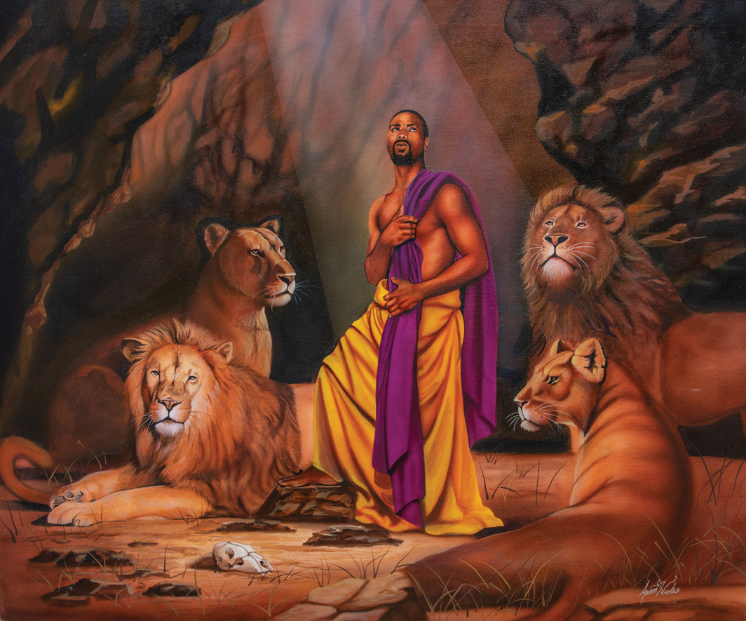 "Aaron Hicks, Daniel in the Lion's Den, 2000, lacquer and acrylic on canvas, 30 × 36""."
