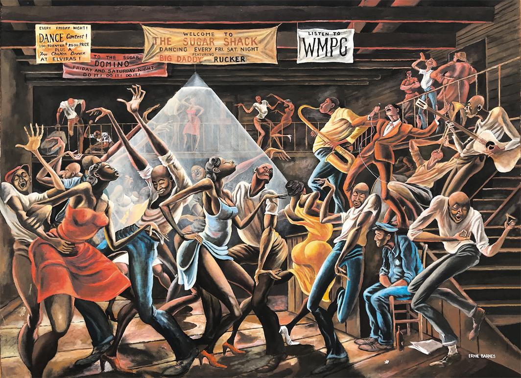 "Ernie Barnes, The Sugar Shack, 1976, acrylic on canvas, 36 × 48""."