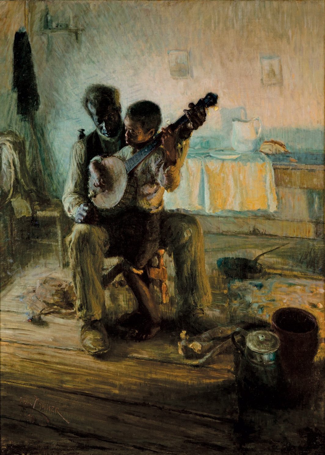 "Henry Ossawa Tanner, The Banjo Lesson, 1893, oil on canvas, 49 × 35 1/2""."