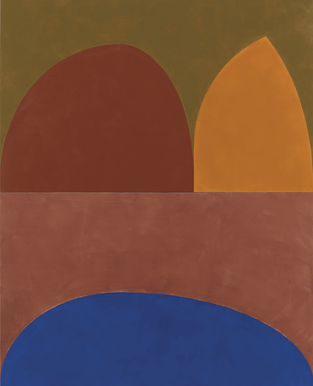 "Suzan Frecon, stone cathedral, 2019, diptych, oil on linen, overall 108 1⁄2 × 87 3⁄4""."