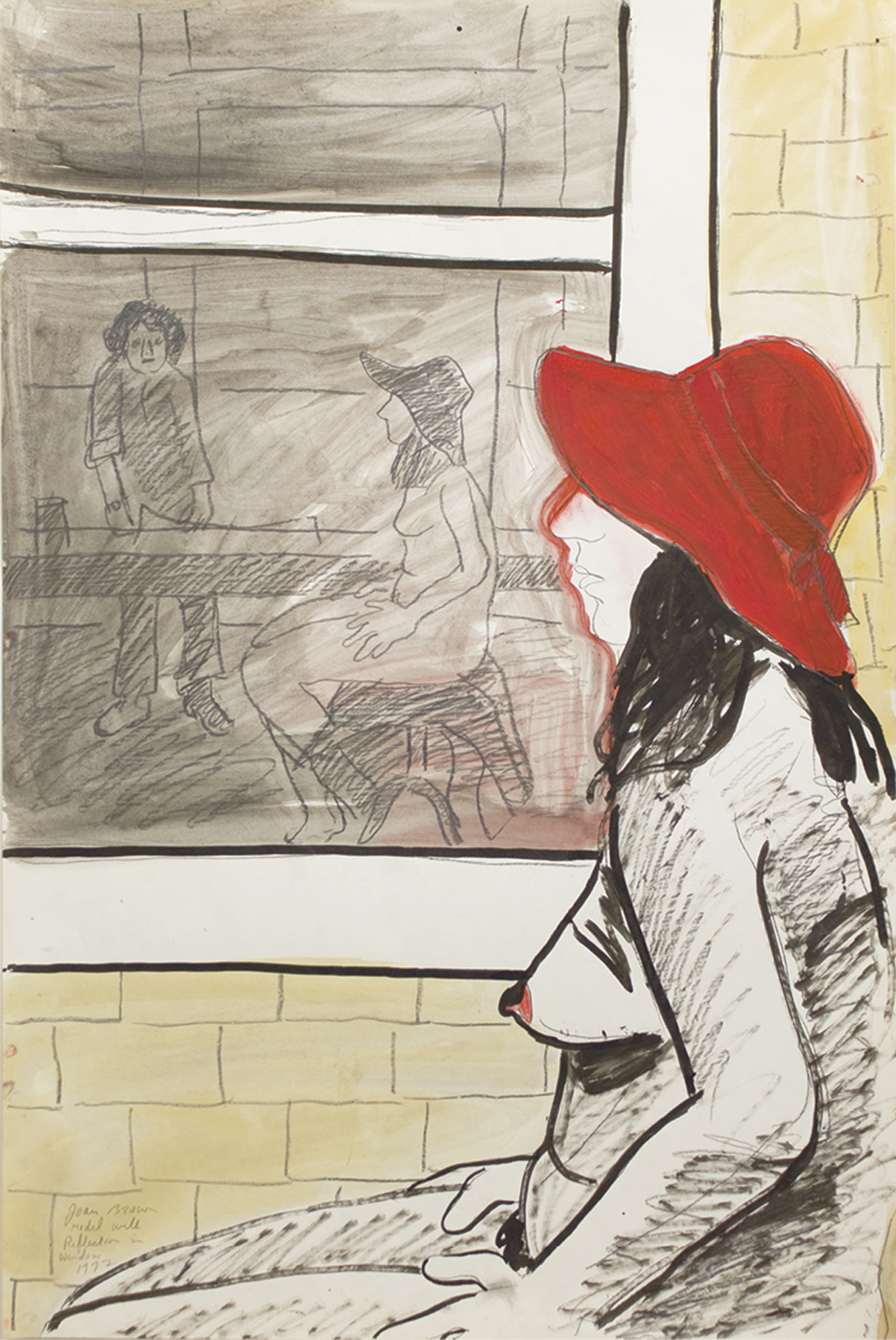 "Joan Brown, Model with Reflection in Window, 1972, acrylic, ink, and graphite on paper, 36 × 24""."