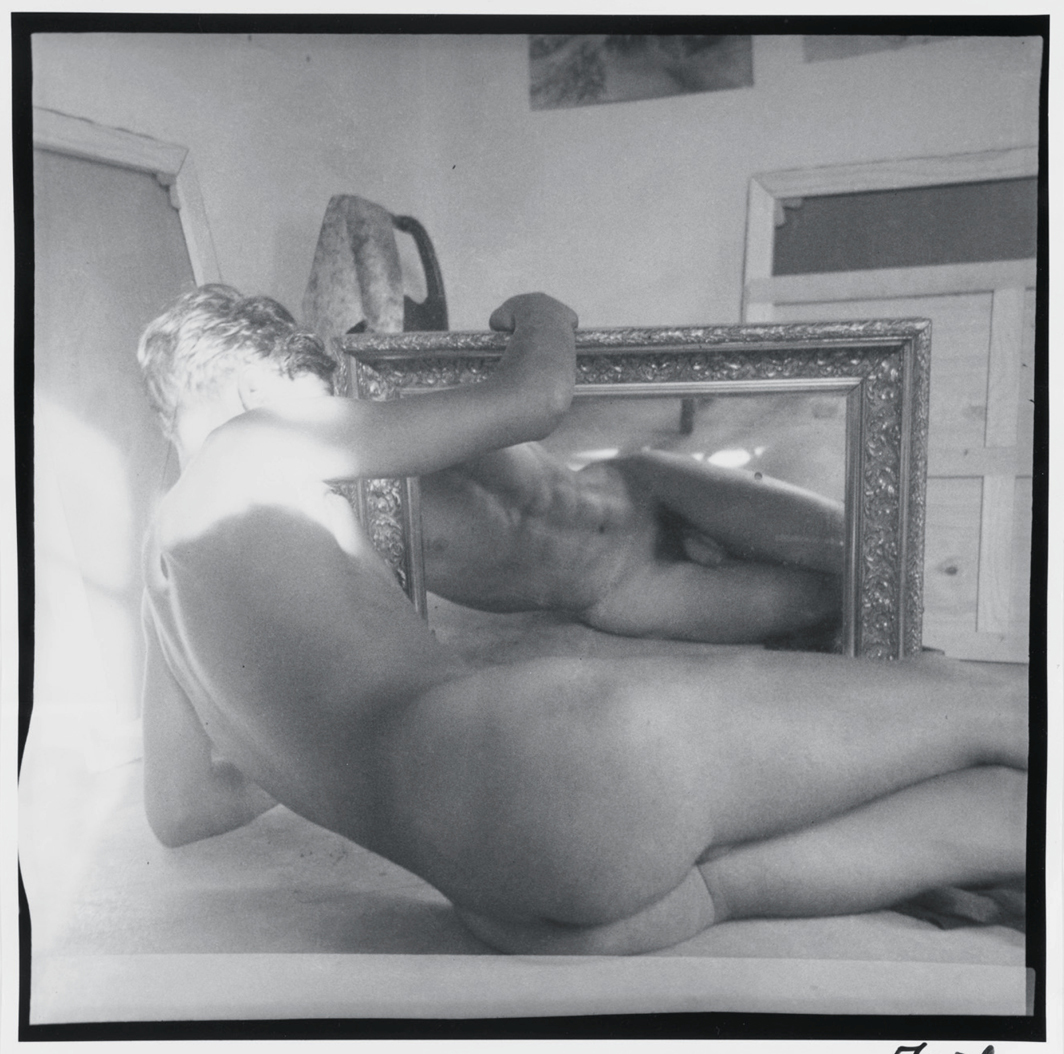 "Charles Henri Ford, Self-Portrait with Mirror, 1937, gelatin silver print, 12 × 12""."