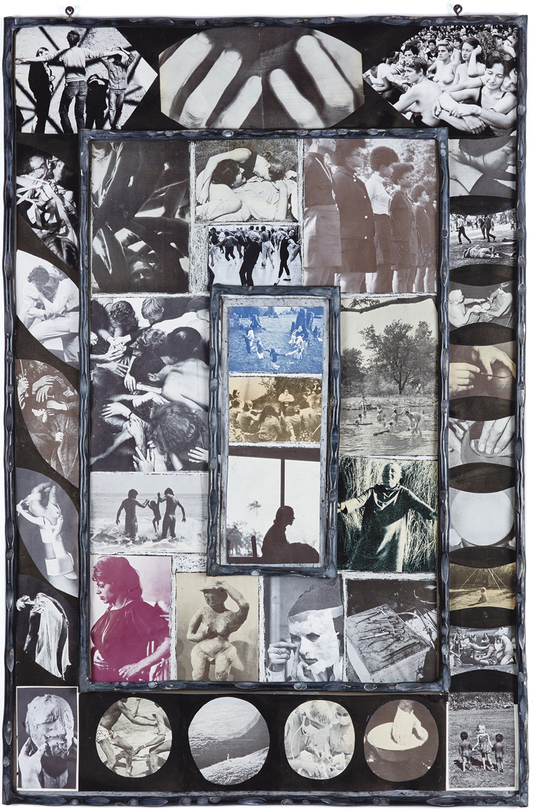 "Carmen Winant, Togethering 9, 2020, oil pastel, found images on paper, sumi ink, aluminum frame, 41 × 27""."