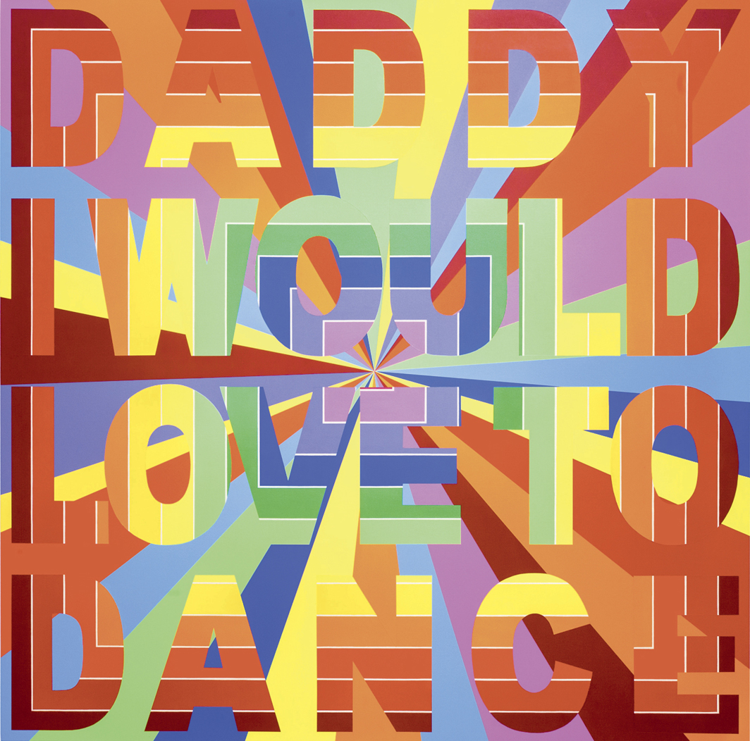 "Deborah Kass, Daddy I Would Love to Dance, 2008, acrylic on canvas, 78 × 78""."