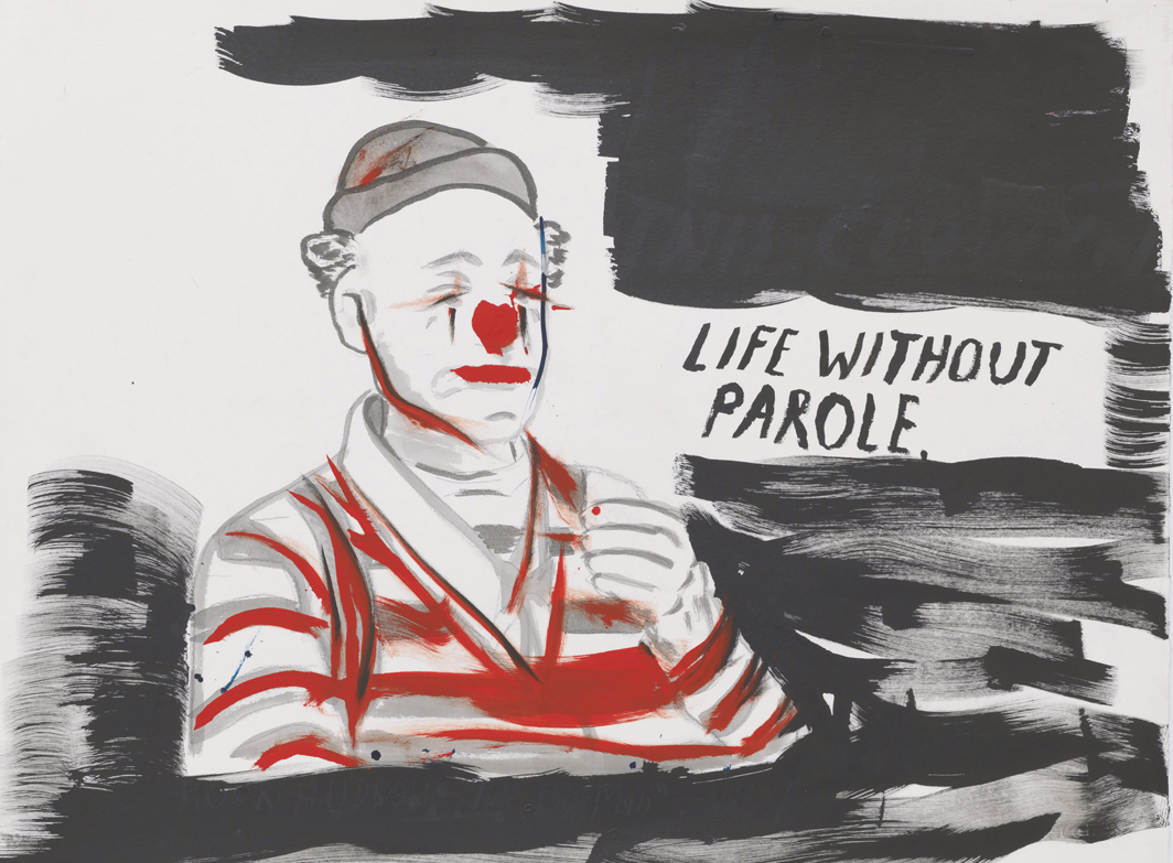 "Raymond Pettibon, No Title (Life Without Parole.), 2020, ink, acrylic, and graphite on paper, 23 × 30""."