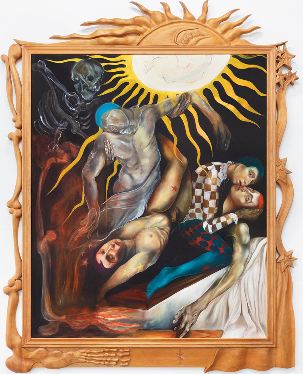 """Karla Kaplun, Escena: Acto II (Scene: Act II), 2020, oil on canvas, wooden frame, 92 1⁄4 × 73 5⁄8 × 2""""."""