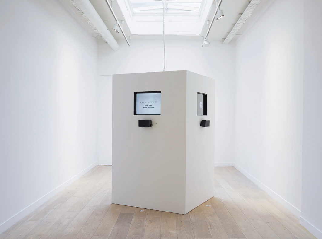 """Nancy Holt, Points of View, 1974, four-channel video installation, black-and-white, sound, 44 minutes. Video unit: 78 × 48 × 48""""."""