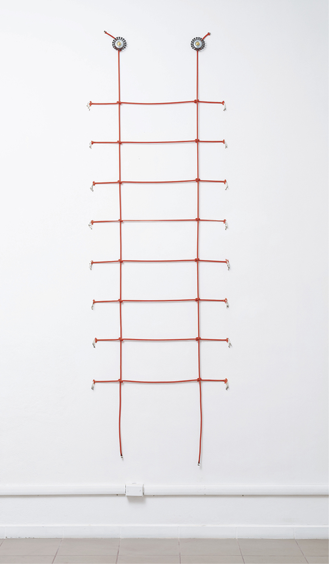 "Corinna Gosmaro, CHUTZPAH!, 2020, mountain-climbing ropes, wire brushes, 118 1/8 × 35 1/2""."