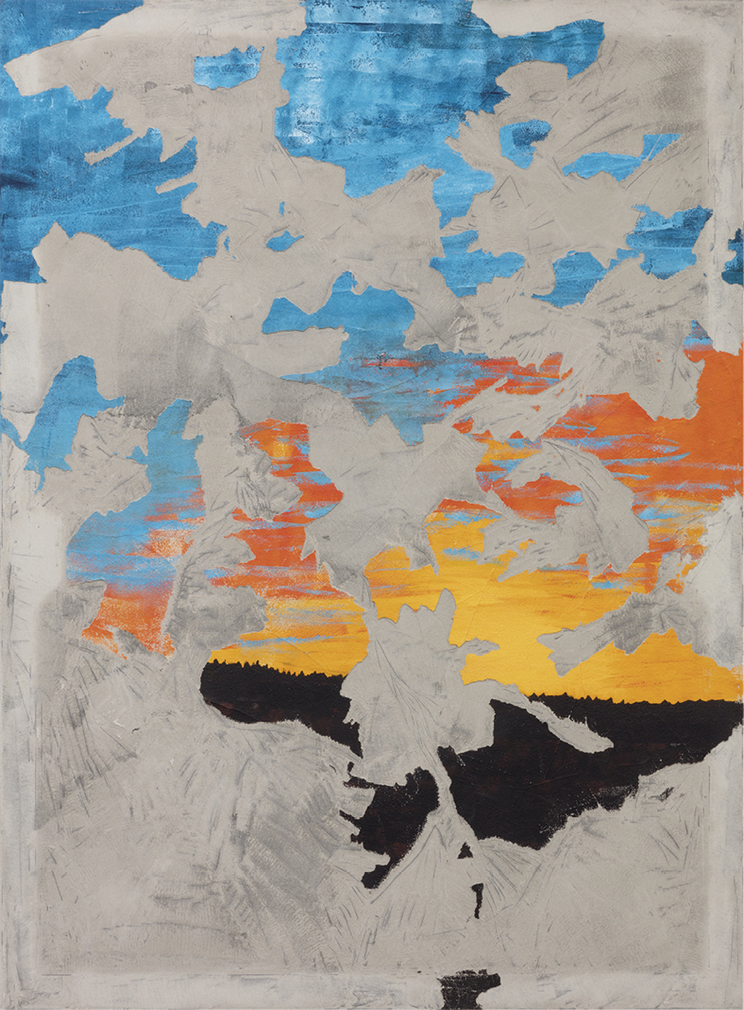"Latifa Echakhch, Sun Set Down, 2020, acrylic paint, concrete, vinyl, and fiber on canvas mounted on aluminum, 78 3/4 × 59 1/8"". From the series ""Sun Set Down,"" 2020."